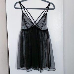 Victoria's Secret L Black Lace Babydoll